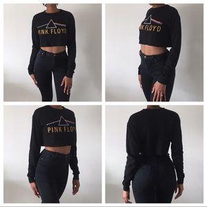 Pink Floyd black waffle knit crop top